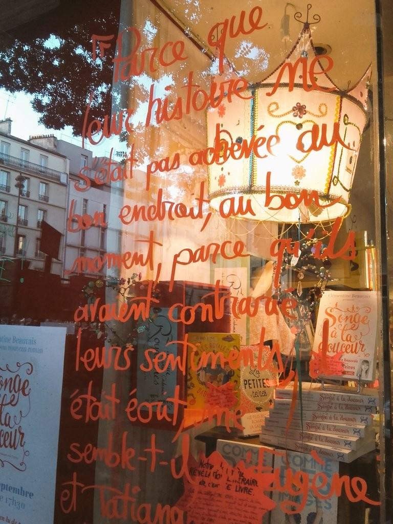 Pour ceux qui sont curieux : le texte écrit sur la vitrine correspond aux premiers vers du roman. Et comme on y parle de la ligne 14 (violet clair), c'est un signe ! Nous somme pile entre les stations Bibliothèque François Mitterrand et Olympiades.